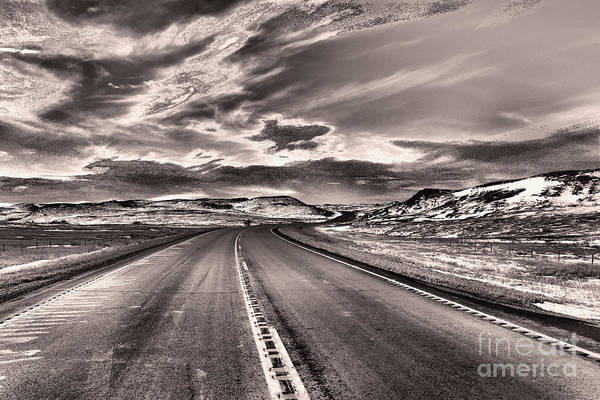 Wall Art - Photograph -  That Long Lonely Road Black And White by Jeff Swan
