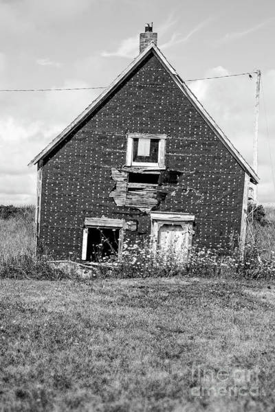 Abandoned House Wall Art - Photograph - That Sinking Feeling Black And White by Edward Fielding