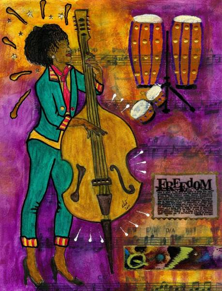 Wall Art - Mixed Media - That Sistah On The Bass by Angela L Walker