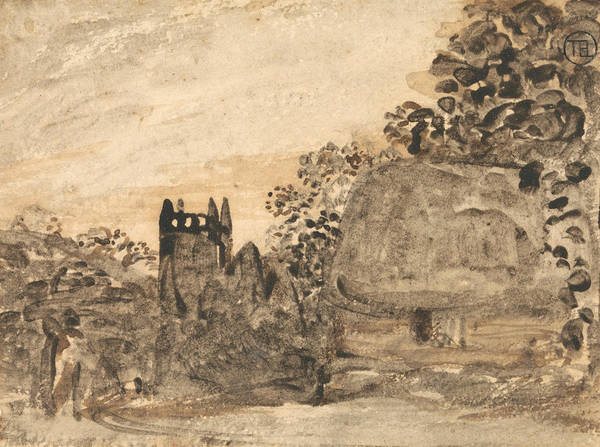 Painting - Thatched Cottage And Church by Samuel Palmer
