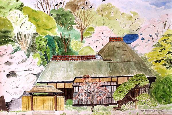Painting - Thatched Japanese House by Vera Smith