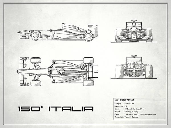 Wall Art - Photograph - The 150 Italia Gp Blueprint - White by Mark Rogan