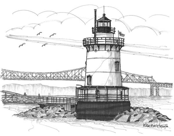 Drawing - The 1883 Lighthouse At Sleepy Hollow by Richard Wambach