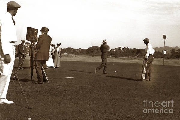 Photograph - The 18th At Old Del Monte Golf Coursewith Film Crew Circa 1900 by California Views Archives Mr Pat Hathaway Archives