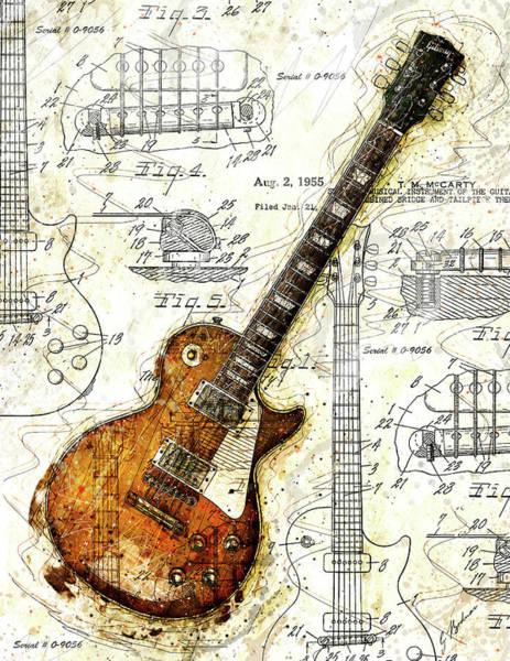 Patent Wall Art - Digital Art - The 1955 Les Paul Custom by Gary Bodnar