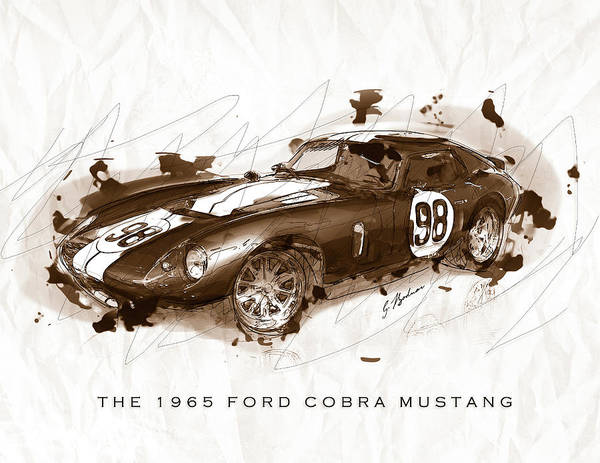 Wall Art - Digital Art - The 1965 Ford Cobra Mustang by Gary Bodnar