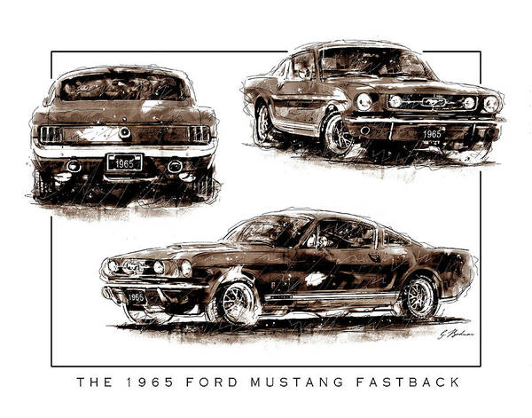Wall Art - Digital Art - The 1965 Ford Mustang Fastback Tritone by Gary Bodnar