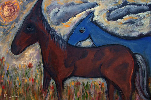 Painting - The 1st Mexican Ponies by Katt Yanda