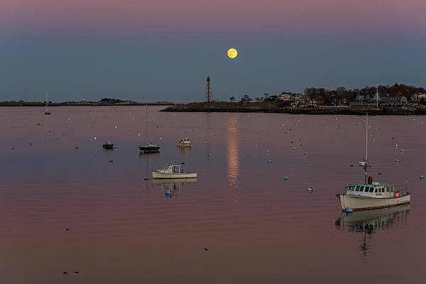 Photograph - The 2016 Supermoon Over Marblehead Harbor Marblehead Ma by Toby McGuire