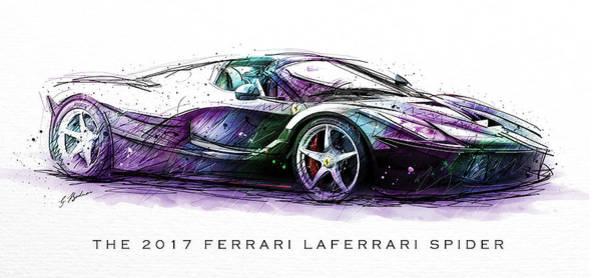 Spider Digital Art - The 2017 Ferrari Laferrari Spider by Gary Bodnar