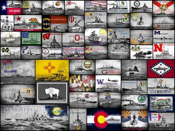 Uss Arizona Wall Art - Digital Art - The 50 States And Their Battleships by JC Findley