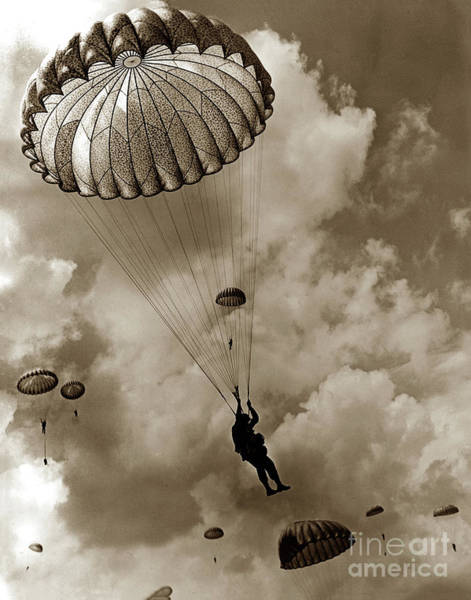 Photograph - The 82nd Airborne  Hits The Silk Fort Ord 1953 by California Views Archives Mr Pat Hathaway Archives