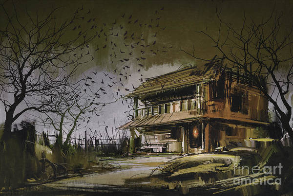 Art Print featuring the painting The Abandoned House by Tithi Luadthong