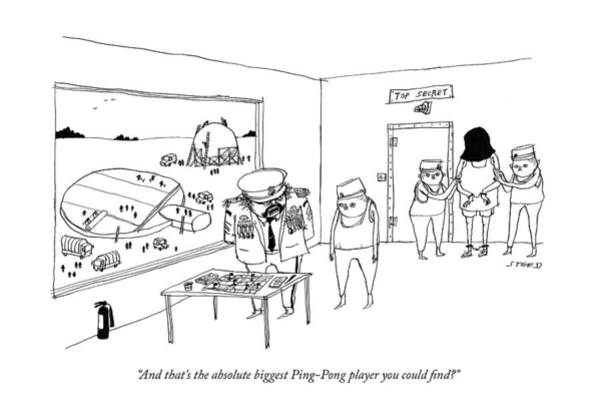 4 Drawing - The Absolute Biggest Ping-pong Player by Edward Steed