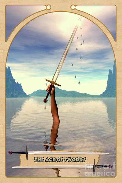Mystic Digital Art - The Ace Of Swords by John Edwards