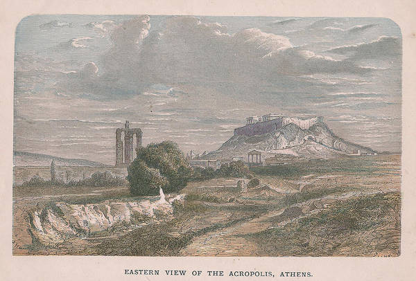 Boho Chic Drawing - The Acropolis, Athens by Victorian Engraver
