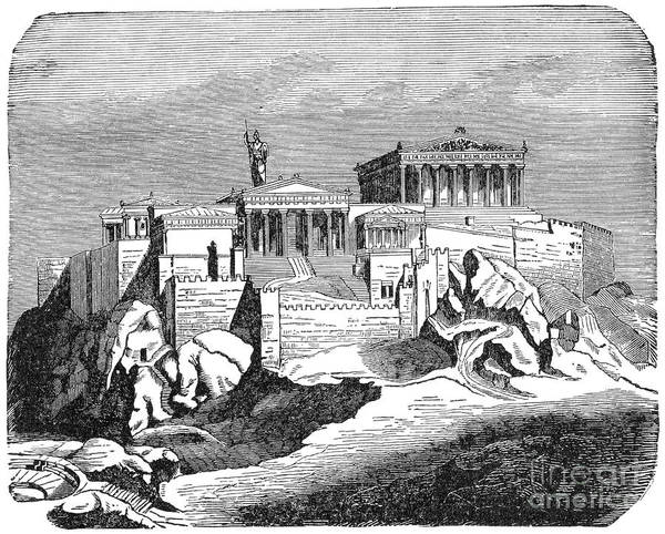 Drawing - The Acropolis, Restored, C1894 - To License For Professional Use Visit Granger.com by Granger