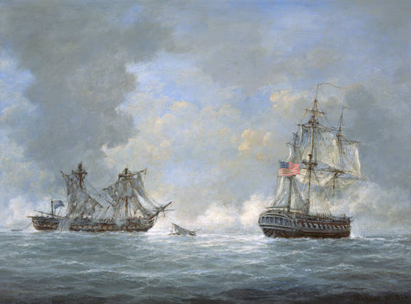Canaries Painting - The Action Between Us Frigate United States And The British Frigate Macedonian by Richard Willis