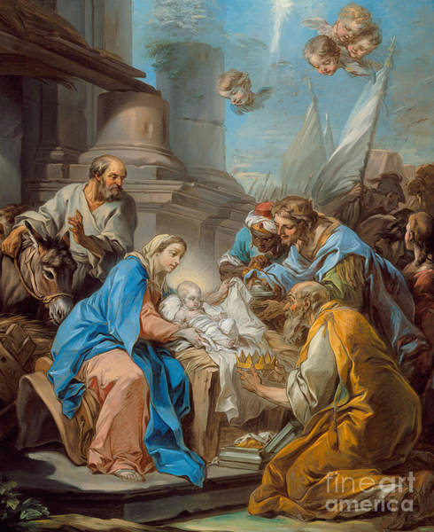 Wise Man Wall Art - Painting - The Adoration Of The Magi by Carle van Loo