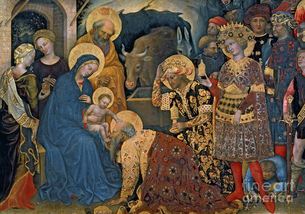 Wall Art - Painting - The Adoration Of The Magi, Detail Of Virgin And Child With Three Kings by Gentile da Fabriano