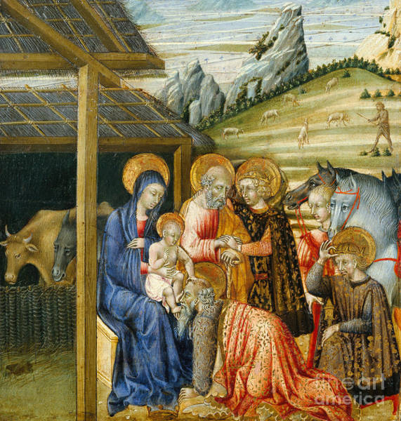 Wall Art - Painting - The Adoration Of The Magi by Giovanni di Paolo di Grazia