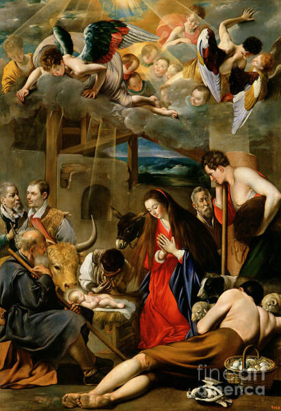 Kneeling Painting - The Adoration Of The Shepherds by Fray Juan Batista Maino or Mayno