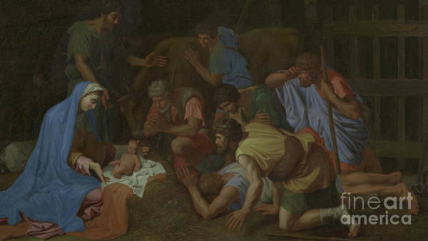 Wall Art - Painting - The Adoration Of The Shepherds by Nicholas Poussin