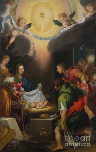 Wall Art - Painting - The Adoration Of The Shepherds With Saint Catherine Of Alexandria by Ludovico Cardi Cigoli