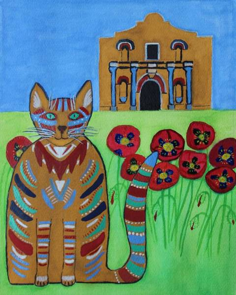 Painting - the Alamo Cat by Vera  Smith