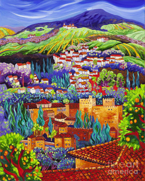 Spanish Wine Painting - The Alhambra by Cathy Carey