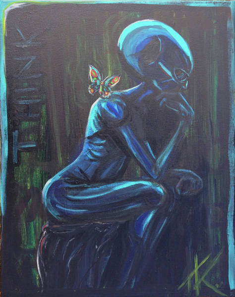 Painting - The Alien Thinker by Similar Alien