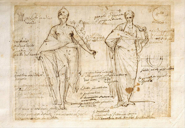 Allegorical Figure Drawing - The Allegorical Figures Of Reason And Wisdom  by Pietro Testa