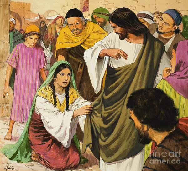 Miracle Painting - The Amazing Love Of Jesus  The Woman In The Crowd by Clive Uptton