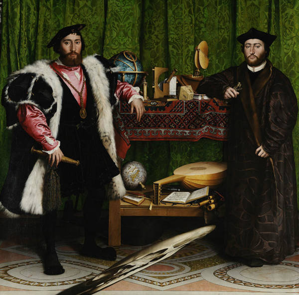 16th Century Wall Art - Painting - The Ambassadors by Hans Holbein the Younger