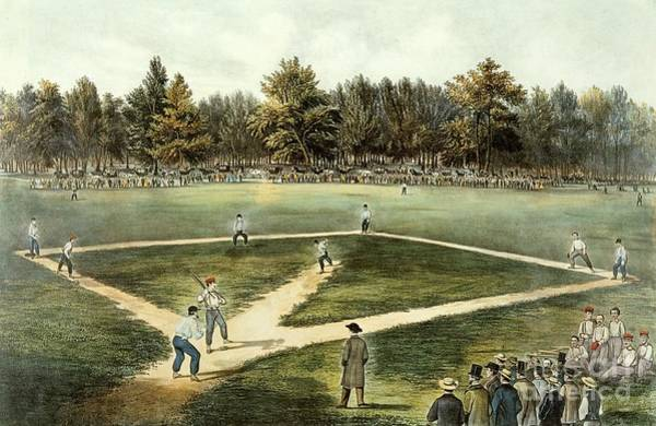 Wall Art - Painting - The American National Game Of Baseball Grand Match At Elysian Fields by Currier and Ives