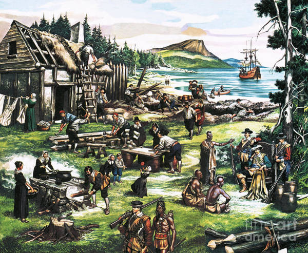Settlers Painting - The American Settlers by Ron Embleton