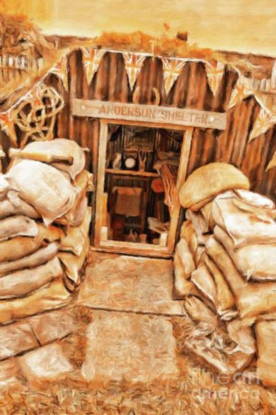 Wwi Wall Art - Painting - The Anderson Shelter By Sarah Kirk by Sarah Kirk