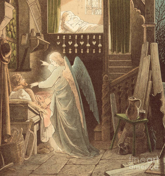 Madonna Drawing - The Angel Appearing To Joseph by Victor Paul Mohn