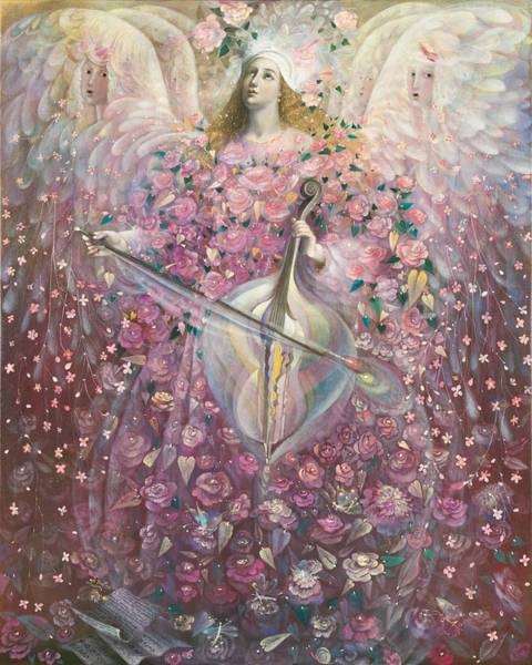 Cello Wall Art - Painting - The Angel Of Love by Annael Anelia Pavlova