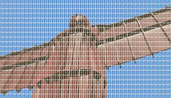 Newcastle Digital Art - The Angel Of The North - Blue by Gary Hogben