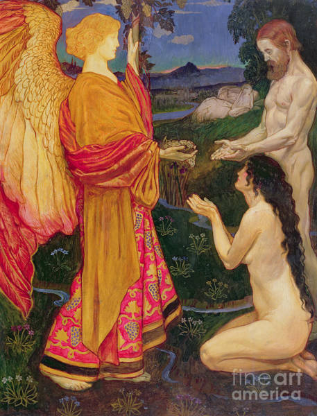Kneeling Painting - The Angel Offering The Fruits Of The Garden Of Eden To Adam And Eve by JBL Shaw