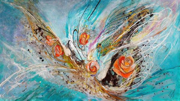 Wall Art - Painting - The Angel Wings #10. The Five Roses by Elena Kotliarker