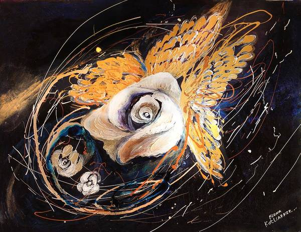Wall Art - Painting - The Angel Wings #3 The White And Gold by Elena Kotliarker