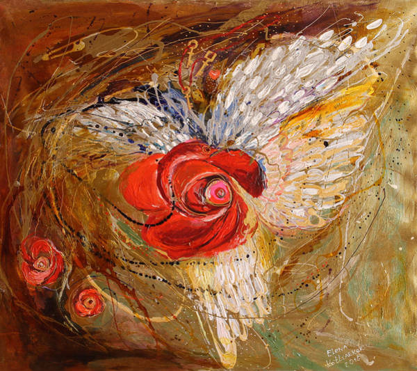 Wall Art - Painting - The Angel Wings #7. Mistery Of Three Keys by Elena Kotliarker