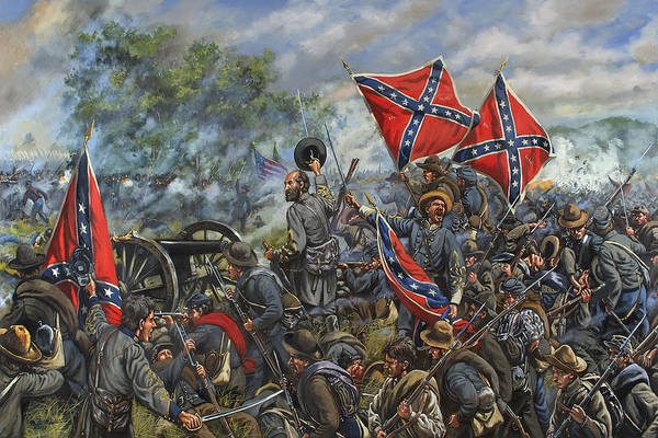 Wall Art - Painting - The Angle - General Lewis A. Armstead - Pickett's Charge - Battle Of Gettysburg by Mark Maritato
