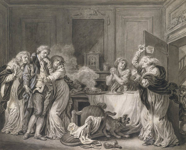 Jeans Drawing - The Angry Wife by Jean-Baptiste Greuze