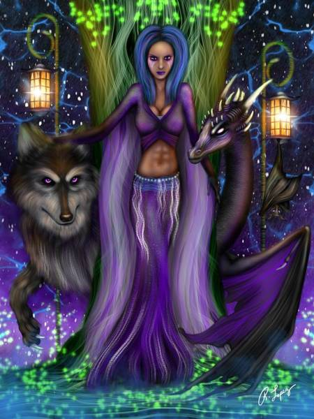 The Animal Goddess Fantasy Art Art Print
