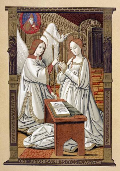 Wall Art - Drawing - The Annunciation. After A Miniature by Vintage Design Pics