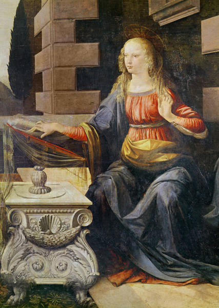 Painting - The Annunciation   Detail Of The Virgin by Leonardo Da Vinci