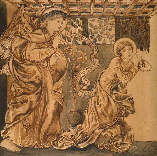 Drawing - The Annunciation by Edward Burne-Jones